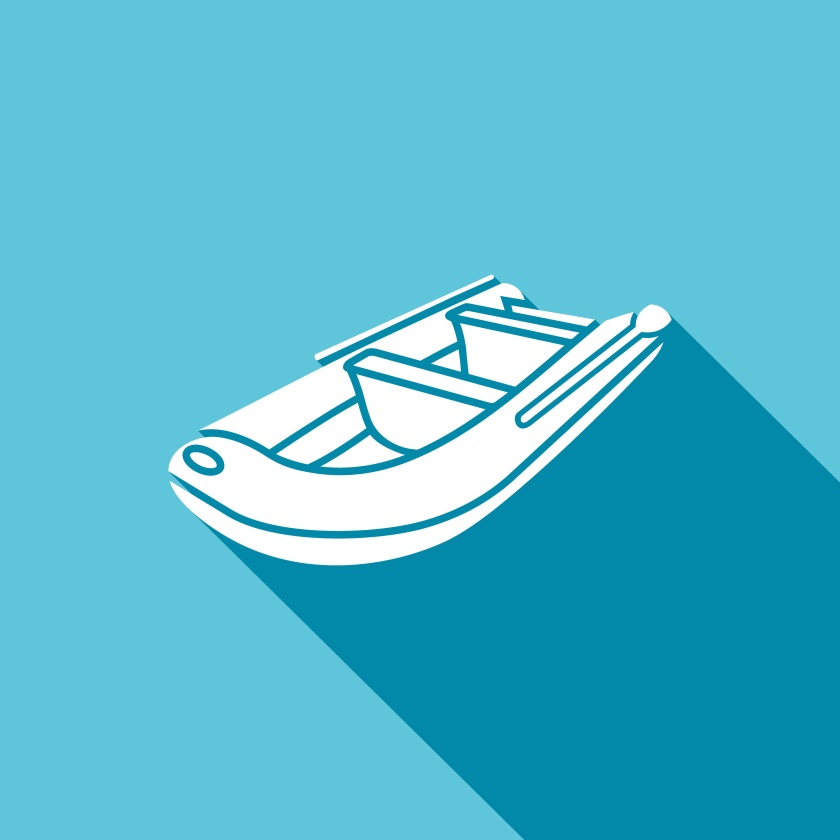 Inflatable boat icon. Vector Illustration.