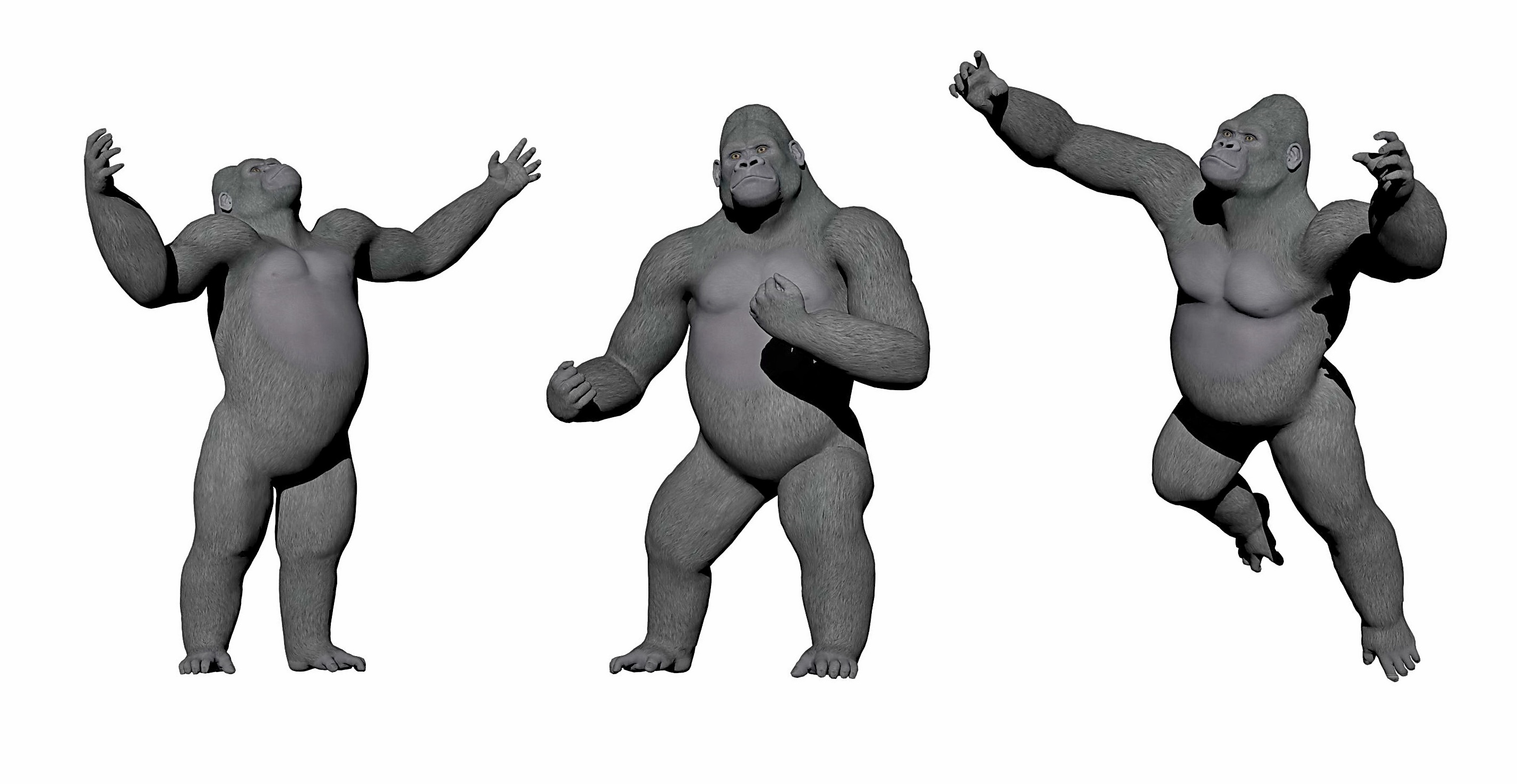 Gorillas up - 3D render